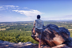 Senior hiker overlooks Virginia Stock Image
