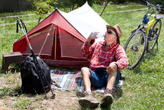 Senior hiker resting Royalty Free Stock Image