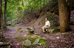 Senior hiker in woods in Virginia Stock Photos