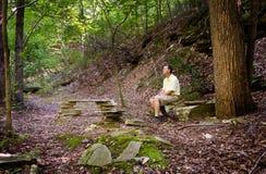 Senior hiker in woods in Virginia Stock Photos