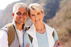 Senior hikers close up Stock Photo
