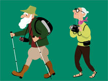 Senior hikers. Senior couple hiking and taking pictures, EPS 8 vector illustration, no transparencies Stock Image