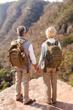 Senior hikers enjoying view. Senior hikers with backpacks enjoying the view from top of a mountain royalty free stock photos