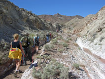 Senior hikers in Pinto Valley near Lake Mead Nevada Stock Images