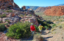 Senior hikers in Red Rock Canyon, Nevada. Stock Photos