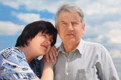 Senior, his daughter leaning to shoulder Royalty Free Stock Photos
