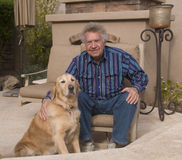 Senior and his pet Stock Image
