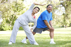 Senior Hispanic Couple Exercising In Park