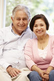 Senior Hispanic couple at home royalty free stock images