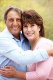 Senior Hispanic couple outdoors. Smiling Royalty Free Stock Photos
