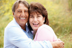 Senior Hispanic couple outdoors Royalty Free Stock Photos