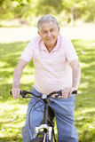 Senior Hispanic Man Cycling In Park Stock Photography
