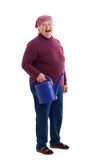 Senior holding a watering can Royalty Free Stock Images