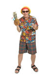 Senior on Holiday. Expressive old man in loud shirt holiday concept isolated against white Stock Images