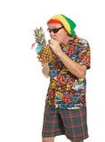 Senior on Holiday. Expressive old man in loud shirt holiday concept isolated against white Royalty Free Stock Photo