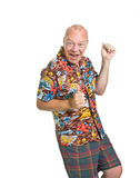 Senior on Holiday. Expressive old man in loud shirt holiday concept isolated against white Royalty Free Stock Photos