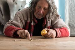 Senior homeless man eating an apple counting coins. Senior homeless man in torn sweater eating old apple and counting Euro coins on an old wooden desk royalty free stock images