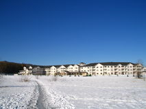 Senior housing complex. A large senior citizen housing complex or facility in winter Stock Photos