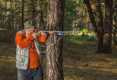 Senior hunter aim rifle Royalty Free Stock Photos