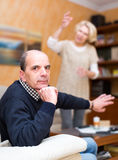 Senior husband tired of his wife Stock Images