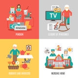 Senior 2x2 Images Set. Pension hobbies and interests leisure of pensioner and nursing home 2x2 images set flat vector illustration Stock Image