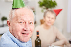 Senior In New Year& X27;s Eve Celebration Royalty Free Stock Photography