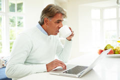 Senior Indian Man Using Laptop At Home Stock Image