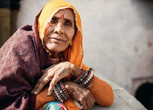 Senior Indian woman in traditional clothes Royalty Free Stock Photos