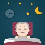 Senior Insomnia. Senior Insomnia, old man sleeplessness vector illustration