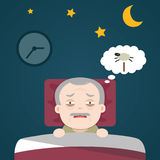 Senior Insomnia, sleeplessness. Senior Insomnia, old man sleeplessness Royalty Free Stock Image