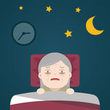 Senior Insomnia, sleeplessness. Senior Insomnia, old woman sleeplessness Stock Photo