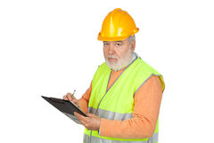 Senior inspector with hoary hair and clipboard Stock Image
