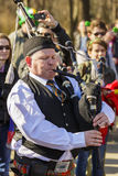 Senior Irish bagpiper Stock Photography