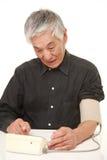 Senior Japanese man checking his blood pressure shocked Stock Image