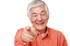 senior Japanese man decided on white background Stock Image