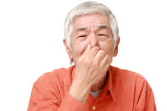 Senior Japanese man holding his nose because of a bad smell. Portrait of senior Japanese man on white background stock image