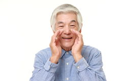 Senior Japanese man shout something Royalty Free Stock Photography