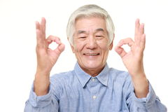 Senior Japanese man showing perfect sign Stock Photography