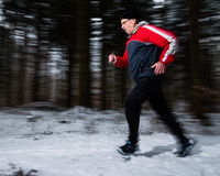 Senior jogging in the winter Royalty Free Stock Photography