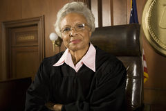 Senior Judge Sitting In Courtroom stock image