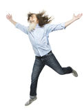 Senior jumping open arms, happy active elder. Healthy old man Stock Image