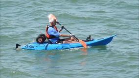 Senior kayak rower stock video footage