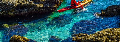 Senior kayaker on a kayak by the sea, active water sport and lei. Sure, kayaking Stock Photos