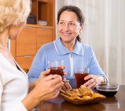 Senior ladies drinking tea. Happy mature ladies with cups of tea and pastry at home stock photography
