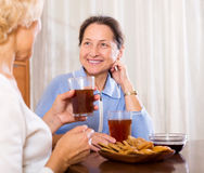 Senior ladies drinking tea. Smiling mature ladies with cups of tea and pastry at home royalty free stock photos