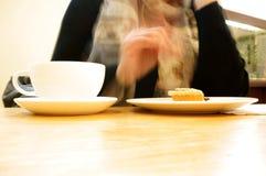 Senior lady in cafe B Stock Photo