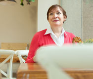 Senior lady   in   cafe. Stock Images