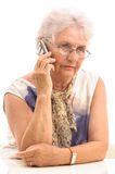 Senior lady on cell phone Royalty Free Stock Images
