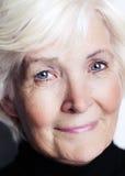 Senior lady close-up. With black sweater royalty free stock photo