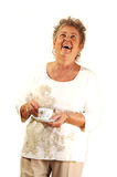 Senior lady with coffee cup. Royalty Free Stock Images